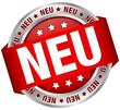 """Button Banner """"NEU"""" rot/silber"""