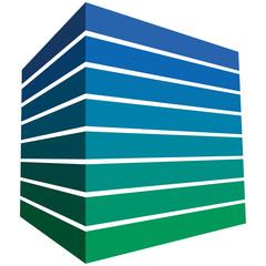 Quader mit Streifen im kühlen Grün-Blau-Farbspektrum