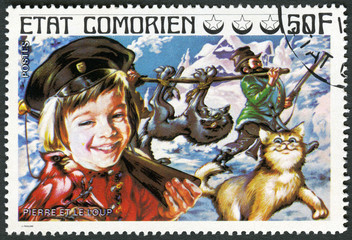 COMORES - 1976: shows Peter and the Wolf, series Fairy Tales
