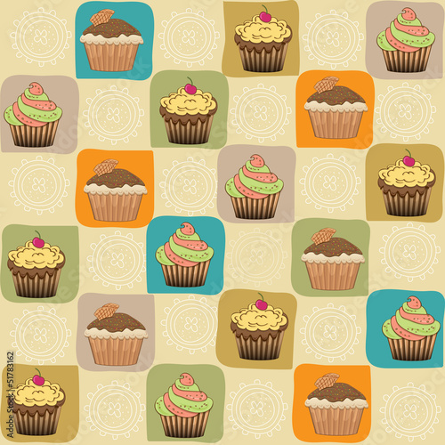 childish seamless pattern with cupcakes