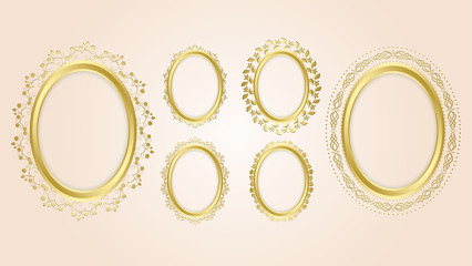 gold oval decorative frames - vector set