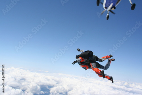 Fotobehang Luchtsport Tandemexit aus Seitentür