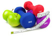 exercise dumb bells and apples