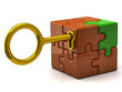 Orange puzzle cube with golden key.