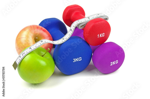 dumb bells and fruit