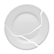 Broken plate on a white background. Metaphor of a family quarrel