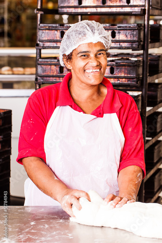 happy woman dough kneed