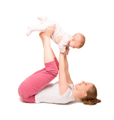 mother and baby gymnastics, yoga exercises isolated