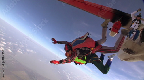 Skydiving video. Tandem. Slow motion.