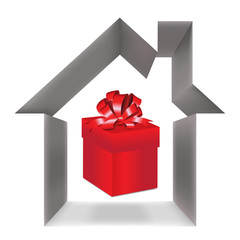 Red gift box and house