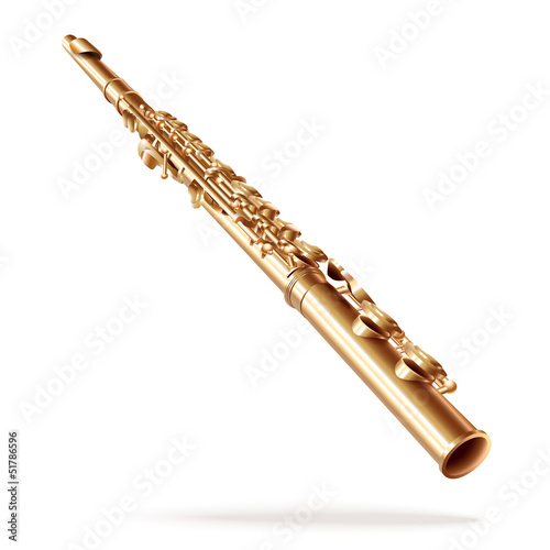 Classical flute, isolated on white background
