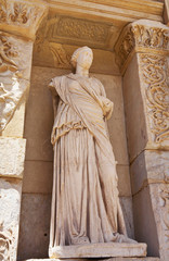 Statue of facade of the library of Celsus