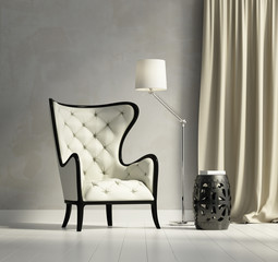 Luxury contemporary elegant armchair with stool and lamp