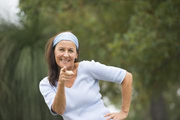 Confident mature woman positive outdoor