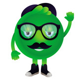 Vector funny monster with mustache and glasses