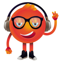 Vector funny monster with headphones and glasses