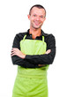 Happy man with an apron isolated on a white background
