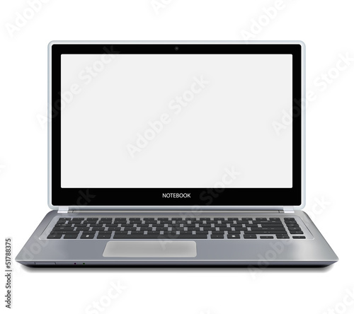 Modern laptop computer with blank screen. Vector.