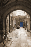 Back alley in London, with bikes, blue door at the end