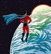 Super hero over Earth