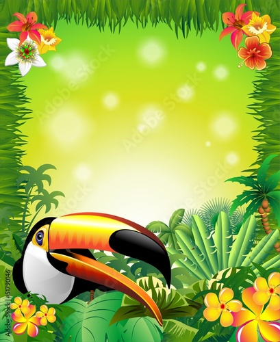 Toucan on Green Jungle Background-Tucano in Sfondo Giungla