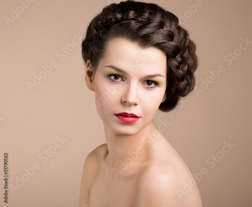 Nostalgia. Retro Styled Pinup Girl with Braided Hair. Romance