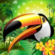 Toucan Close Up Art Design Tucano-Vector