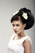 Beautiful Bride Fashion Model. Hairdo with Vernal Flowers