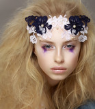 Lace. Stylish Attractive Fashion Model with Modern Makeup