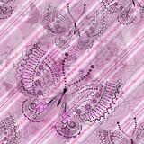 Pink grunge seamless pattern with butterflies