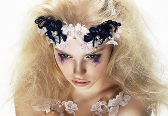 Overhead View of Unusual Artistic Trendy Blond Woman. Creativity