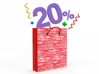 3d render of 20 percent in Sale Bag