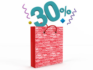 3d render of 30 percent in Sale Bag