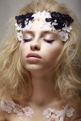 Imagination. Dreaming Teen Girl with Fantastic Makeup