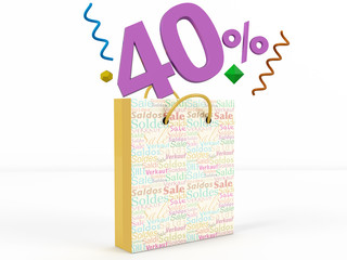 3d render of 40 percent in Sale Bag