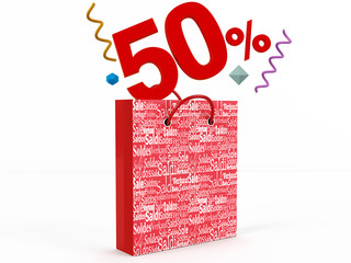3d render of 50 percent in Sale Bag