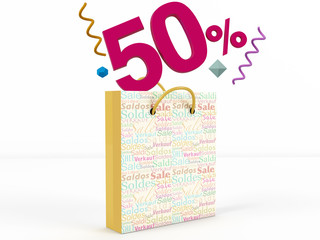 3d render of 50 percent in Sale Bag