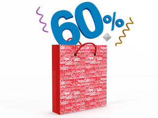 3d render of 60 percent in Sale Bag