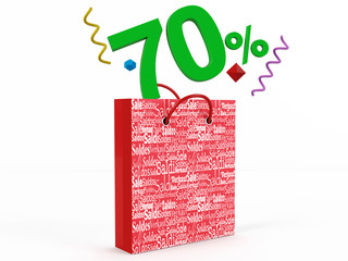 3d render of 70 percent in Sale Bag
