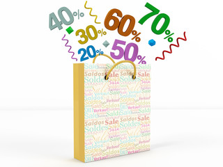 3d render of numbers in Sale Bag