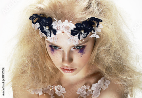 Overhead View of Unusual Artistic Trendy Blond Woman. Creativity