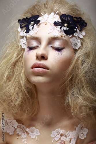 Imagination. Dreaming Teen Girl with Fantastic Makeup