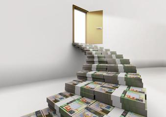 3D stacked Kuwait money piles of money