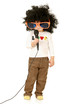 Little girl in afro wig  and big glasses holding