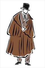 hombre de traje con capa