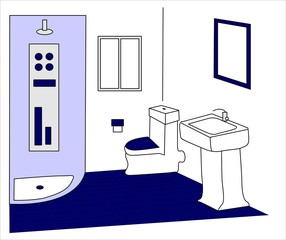 cuarto de baño blanco y azul