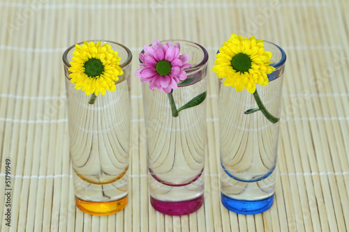Three Santini flowers in little tinted glasses on bamboo mat