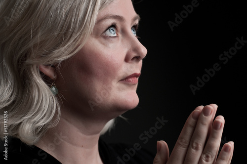 Mature Caucasian Woman Praying