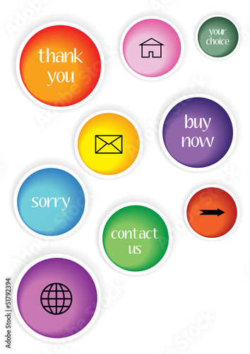 set of modern stickers with icons and text
