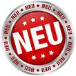"""Button """"NEU"""" rot/silber rund"""